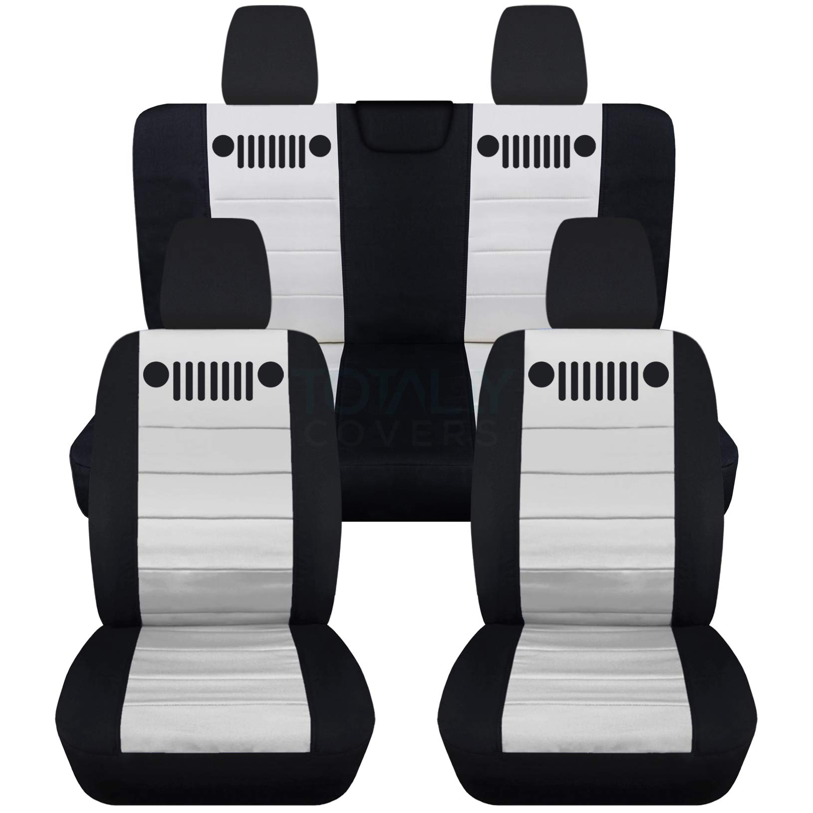 Totally Covers Fits 2018-2019 Jeep Wrangler JL Seat Covers: Black & White - Full Set: Front & Rear (23 Colors) 2-Door/4-Door Solid/Split Bench Back w/wo Armrest/Headrest