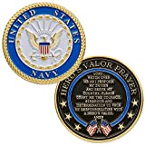 Hero's Valor United States Navy Challenge Coin with Prayer 1-Pack (One Coin)