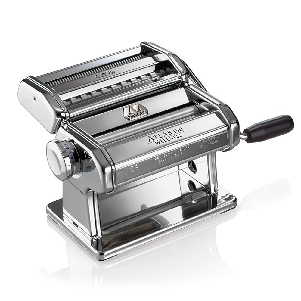 Marcato 8320Atlas Pasta Machine, Made in Italy, Includes Pasta Cutter, Hand Crank, and Instructions