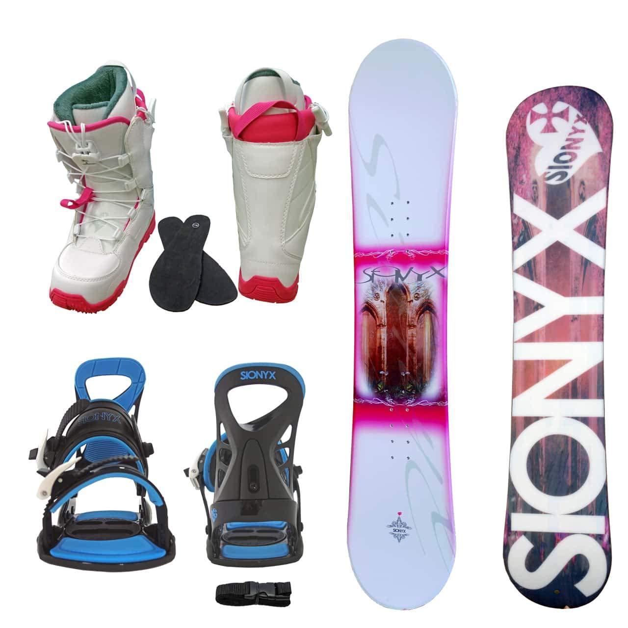 SIONYX レディース スノーボード3点セット スノボー+バインディング+クイックシューレースブーツ MONTE B07JK3MMMH ボード 144+boots 24.0|ボード ホワイト+binding ブルー+boots ホワイト ボード ホワイト+binding ブルー+boots ホワイト ボード 144+boots 24.0