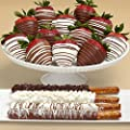 4 Caramel Pretzels & 12 Swizzled Strawberries - Great for Valentine's Day by Shari's Berries
