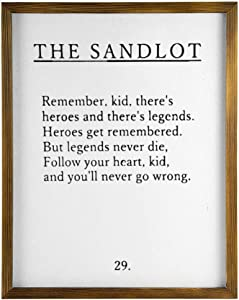 DONL9BAUER The Sandlot Quote Wooden Framed Sign Boys Room Nursery Baseball Rustic Wall Hanging Modern Rustic Farmhouse Decor Wall Art for Kitchen Living Room