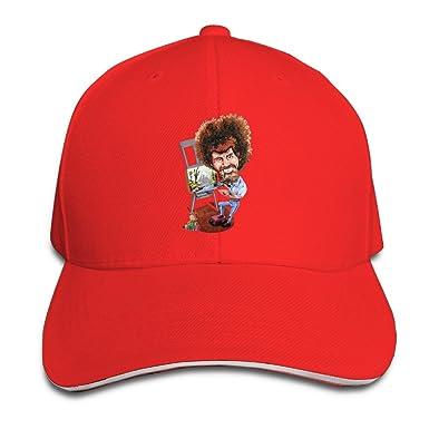 b3815732537f0 T121 Bob Ross Painter Sandwich Adjustable Hat Custom Hat Ash - Red -   Amazon.co.uk  Clothing