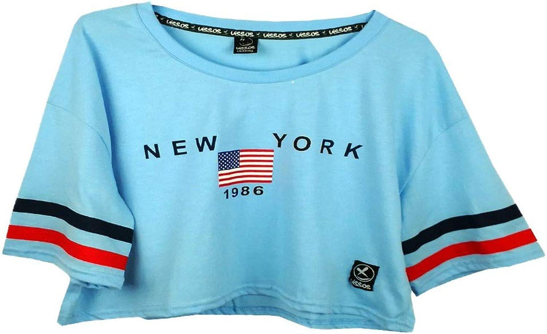 UISSOS Camiseta Chica Manga Corta Estampado New York Moda De Mujer Camiseta combinada: Amazon.es: Ropa y accesorios