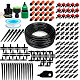 "Patio Plant Watering Kit,50ft 1/4"" Blank Distribution Tubing Hose DIY Garden Drip Irrigation System, Misting Cooling System with Sprayers Mister Nozzle for Garden Flower Beds"