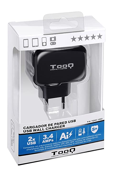 TooQ TQWC-1S02 - Cargador de pared con 2 x USB (5V - 3.4 A, 17 W), con tecnologia AiPower, para iPad / iPhone / Samsung / Tablets / Smartphones, color ...