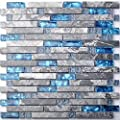 Home Building Glass Tile Kitchen Backsplash Idea Bath Shower Wall Decor Blue Gray Wave Marble Interlocking Pattern Art Mosaics TSTMGT002 from TST MOSAIC TILES