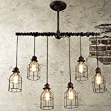 Adjustable Wire Industrial Vintage Brushed Iron Cage Chandelier – LITFAD 33.46″ Edison Ceiling Light Island light Water Pipe Pendant Light with 6 Lights For Sale