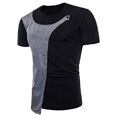 d64f927df69 VPASS Mens Pique Polo Plaid T-Shirt Casual Short Sleeve Valueweight Blouse  Set-in