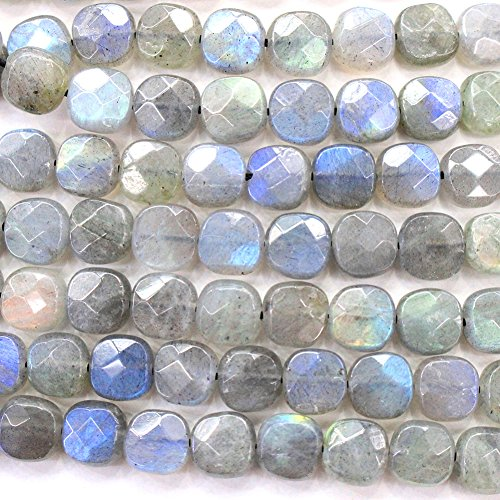 (Faceted Natural color labradorite square Gemstone Loose Beads for DIY Jewelry Making (8mm))