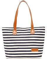 LuckyZ Canvas Stripes Purse Tote Shoulder bag Womens Travel Beach Handbag