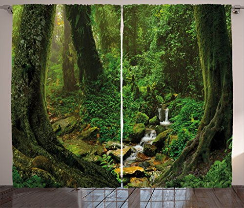 Ambesonne Nature Curtains, Wonderland Forest Nepal Jungle Rainforests Habitat Wild Primeval Picture Print, Living Room Bedroom Window Drapes 2 Panel Set, 108