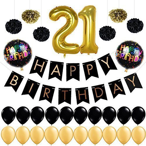 Go Decorations 21st Birthday Decorations Balloons- Balloon Banner - Happy Birthday Black Banner, 21st Gold Number Balloons,Gold and Black, Number 21, Perfect 21 Years Old Party Supplies (21st Balloons And Banners)