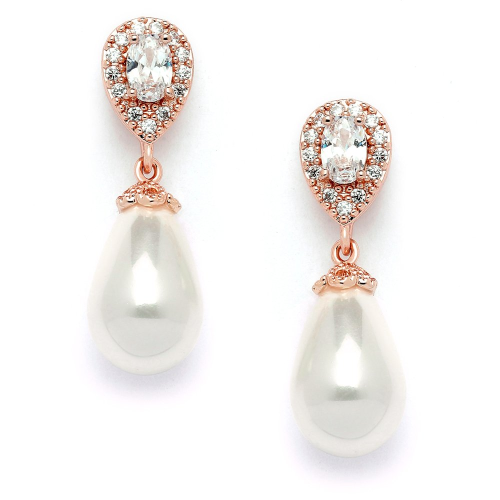 Mariell Blush Rose Gold Clip On Earrings with Glass Pearl Drops & Pear-shaped CZ - Bridal Wedding Glam