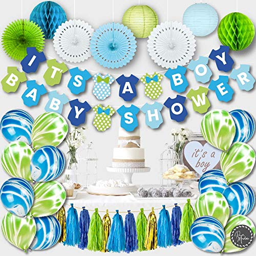 PREMIUM Baby Shower Decorations for Boy Kit | Boy Baby Shower Decorations Set | IT'S A BOY Banner, Paper Lanterns, Honeycombs | Tissue Paper Fans | Tassels | Marble Balloons | Blue Gold Green White]()