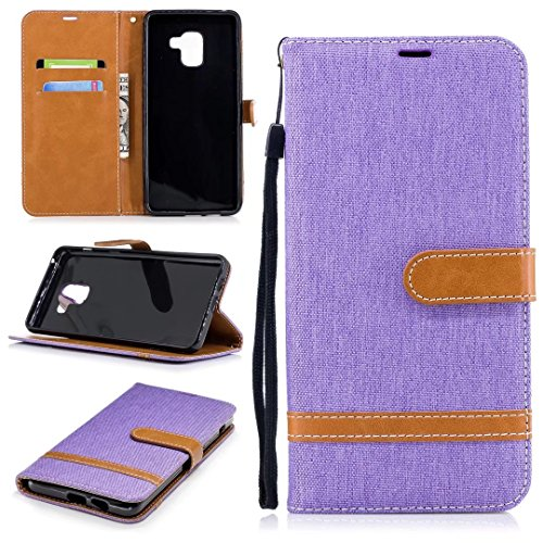 Samsung Galaxy A8 Plus 2018 móvil, cowx PU Funda de piel para Samsung Galaxy A8 Plus 2018 funda Denim Lila