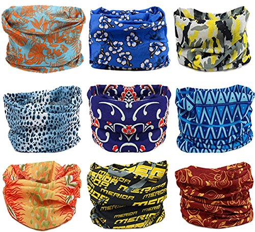 Kingree 9PCS Headwear, Womens and Mens Headband, Guys Sweatband & Sports Head Tie for ATV/UTV riding, Outdoor Magic Scarf, Bandanna Headwrap, (MixMatch 3)