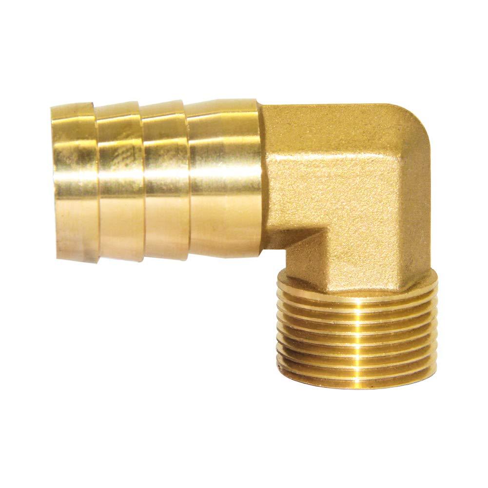 Joywayus G 3/4'' Male Thread x 1'' Hose Barb Brass Elbow Fittings Coupler Connector by Joywayus