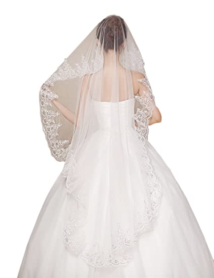 Monalia 1T Long Bridal Veils Lace Cathedral Wedding Veil Wedding ...