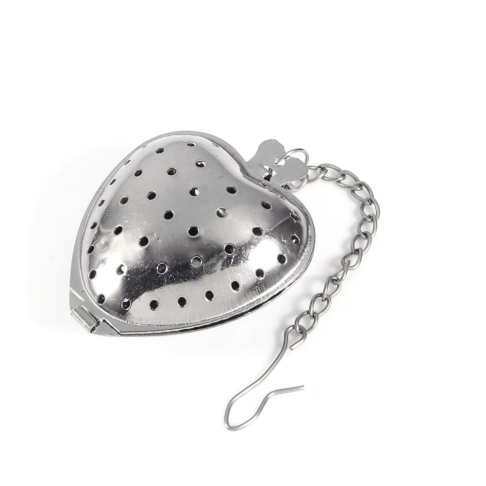 Loose Leaf Tea Infuser Stainless Steel Love Heart Shape Mesh Reusable Tea Strainers Steepers Filter Diffuser Herbal Spice Chain Setfor Rooibos Green tea and Oolong Tea