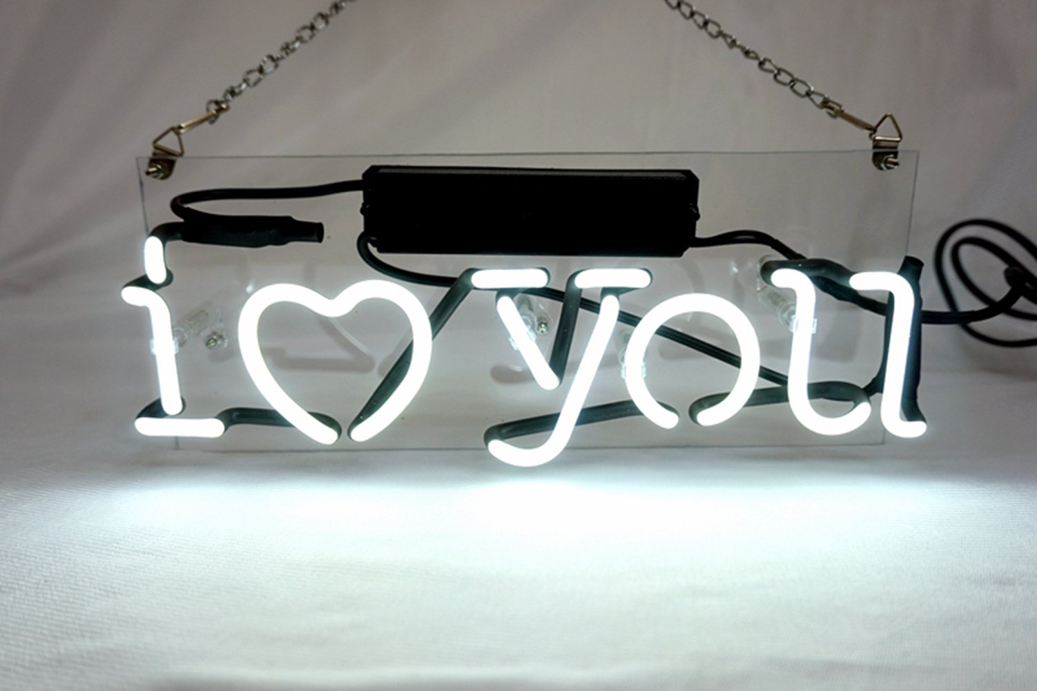 Cool I Love You LED Neon sign Heart Lamp Night Light 4.7'' x 11.8'' for Gift Home Decoration Beer Pub Hotel Beach Recreational Game Room