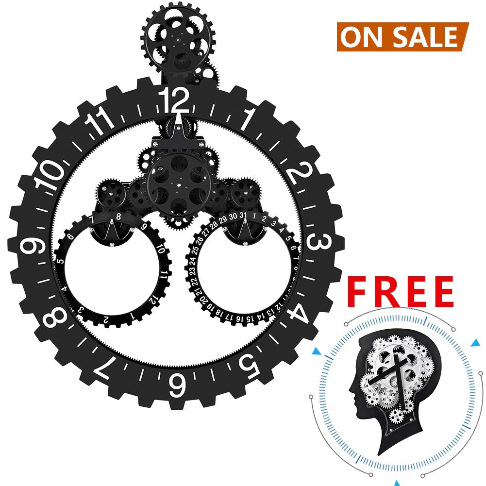 SevenUp Large Wall Clock Gear Moving, Decorative Modern Plastic and Metal, Big Wheel Month/Date/Hour Gear Wall Clock,Perfect for Living Room, Reading Room, Restaurant, Office Decor (Brain - Black)
