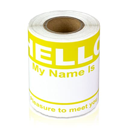 Hello My Name is Stickers Labels Nametags Visitor Sticker Badges Write on  Adhesive Color Simple Basic Blank [Yellow] -2-5/16