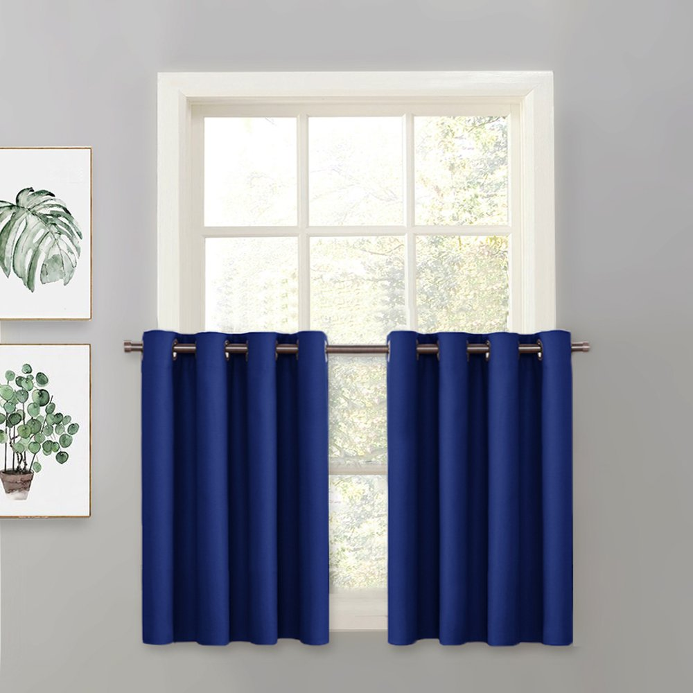 PONY DANCE Blackout Curtain Valance - Tier Thermal Insulated Swag Window Treatments Light Block Panel Grommet Top Bedroom, 52'' W x 36'' L, Navy Blue, 1 Panel