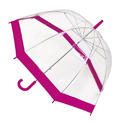 Adults Transparent Clear Dome Umbrella - Black Pink Blue