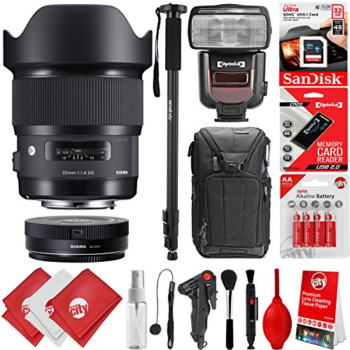 Sigma 20mm F1.4 ART DG HSM Lens for Nikon DSLR Cameras + 32GB 17PC Bundle for D810 D750 D610 D7500 D7200 D7100 D7000 D500 D5600 D5500 D5300 D5200 D5100 D3400 D3300 D3200 and D3100