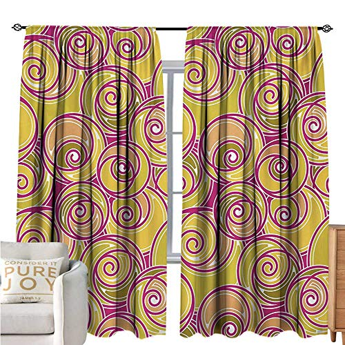 Shaped Oval Trim Floral - bybyhome GrungePrinted curtainOrnate Abstract Curlicues Vibrant Oval Shaped Nostalgic RetroEnvironmental Protection W108 xL72 Magenta Yellow Green Pale Orange