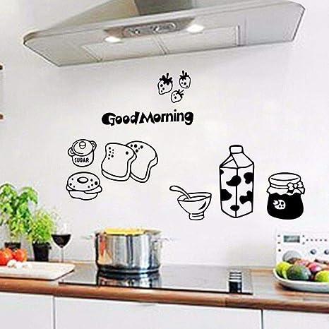Buenos días desayuno calcomanías de pared extraíble comedor y ...