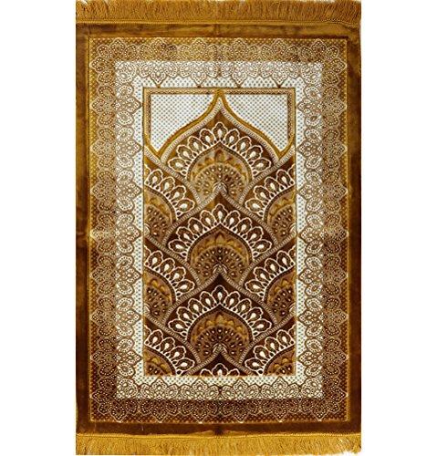 Wide BEST QUALITY Plush Velvet Islamic Prayer Rug Namaz Sajjadah Muslim Namaz Seccade Turkish Prayer Mat FREE CAP Carpet Gold