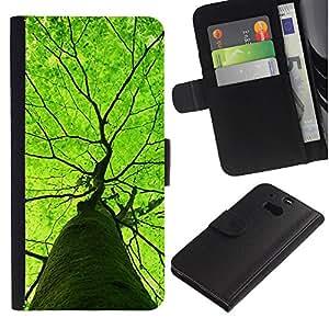 EuroTech - HTC One M8 - Vibrant Green Tree Summer Nature Spring - Cuero PU Delgado caso Billetera cubierta Shell Armor Funda Case Cover Wallet Credit Card