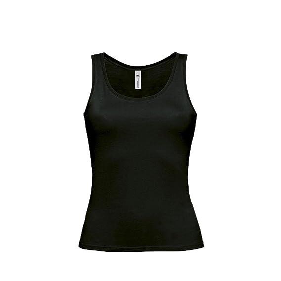 B&C- Camiseta de Tirantes Anchos Lisa para Mujer (Mediana (M)/Negro