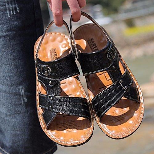 Sommer Das neue Echtleder Sandalen Männer Trend Schuhe Männer Lässige Schuhe Jugend Rutschfest Dualer Gebrauch Strandschuhe ,schwarz,US=6.5?UK=6,EU=39 1/3?CN=39