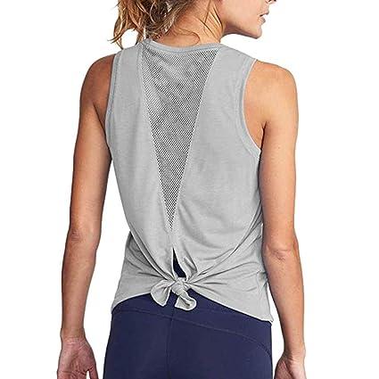 a54d7e0d950c6 Amazon.com: Women's Yoga Tank Top Open Back Tops Sports Racerback Tank Top  Elastic Sleeveless T-Shirt Vest for Fitness Gym Toponly: Appliances