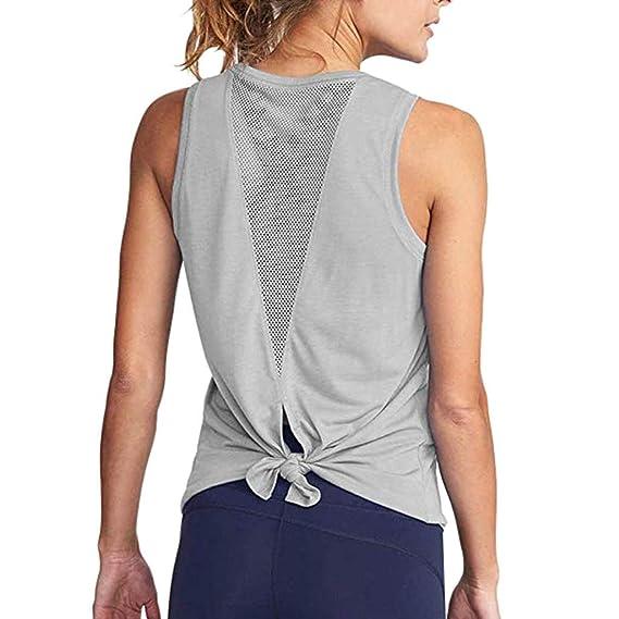 Luckycat Ropa Camiseta sin Mangas Tank Tops para Mujeres, Verano Sexy Deporte Casual Yoga Chaleco Blusa Tops Blusas Crop Tops Vest T Shirt Mujeres: ...