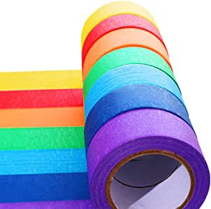 7 Pieces Colored Masking Tape Rainbow Masking Tape Labelling Tape Graphic Art Tape Roll for Fun for Arts DIY, Home Decoration, Office Supplies
