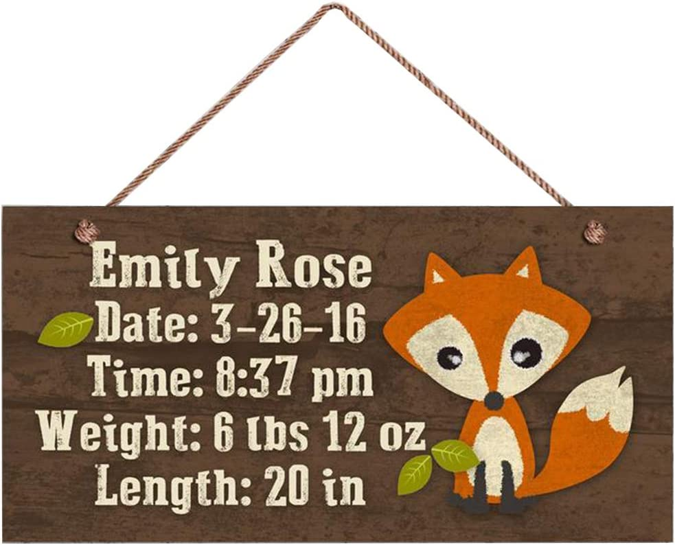 ROONASN Baby Birth Stats Wood Sign, Woodland Fox Personalized Sign, Remember Child's Birth(W2015)