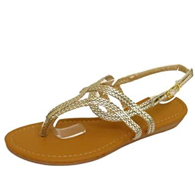 5506054351bb8a Ladies Gold Toe-Post Flat Sandals Flip-Flop Shoes Holiday Summer Pumps UK  3-8  Amazon.co.uk  Shoes   Bags