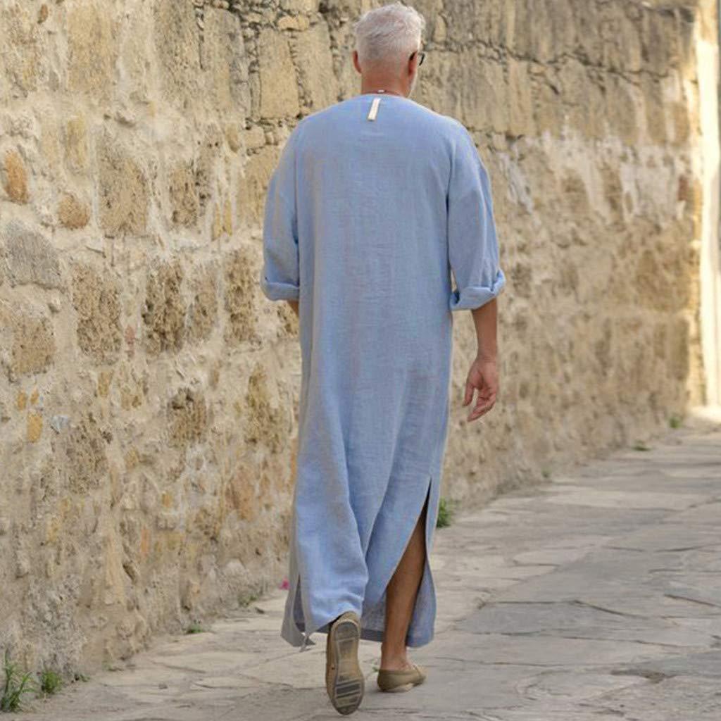 BESSKY Clothes Robe Homme, Caftan Ethnique Vrac Couleur Unie,Manches  Longues Vintage, Coton Et Lin, Jupe Longue
