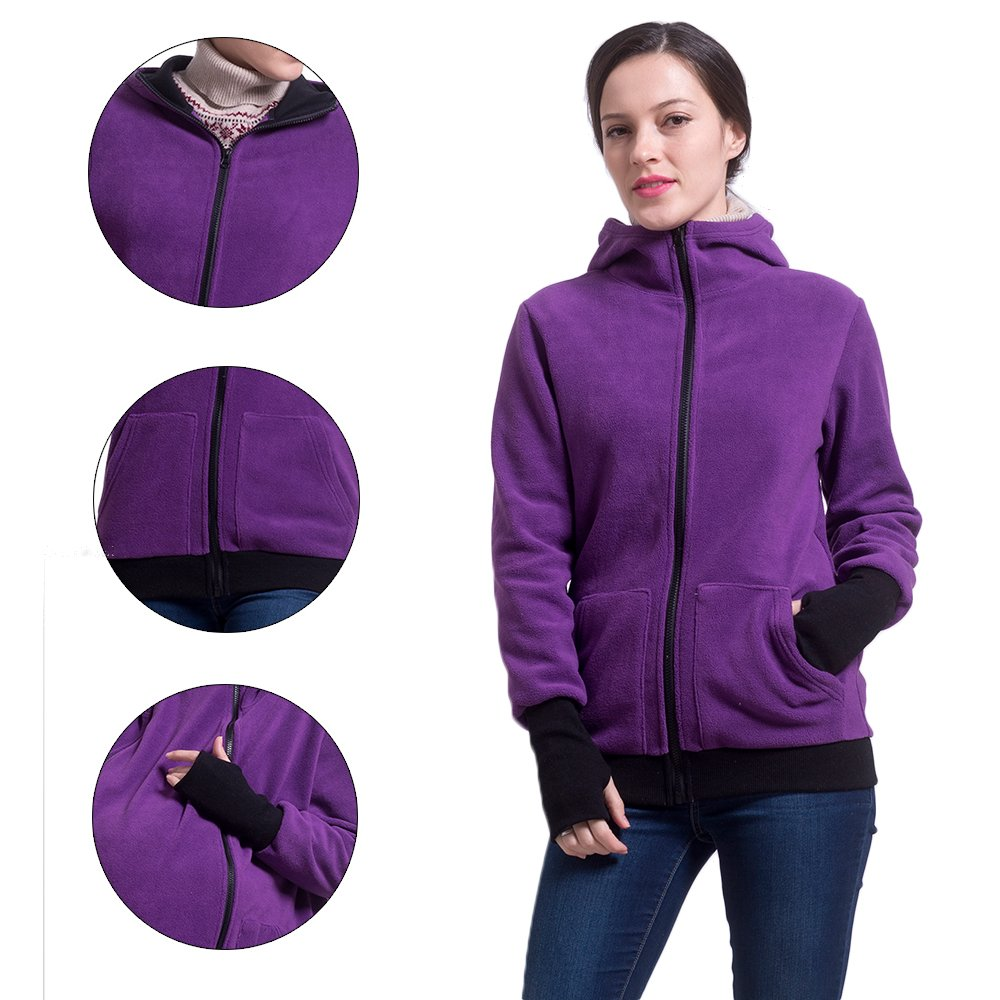 fb3c4d008bcbd U2SKIIN Womens Maternity Fleece Hoodie 3 In 1 Kangaroo Pocket Carrier Baby  Holder (Purple, L/XL(US 10/12)) at Amazon Women's Clothing store: