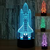 3D Illusion Lamp Novelty Optical Led Light 7 Colors Change Spacecraft Light Touch Switch Table Desk Lamps for Kids Bedroom Birthday Christmas Gifts