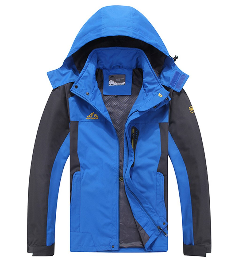 Cheerun Men's Outdoor Sports Hooded Windproof Jacket Waterproof Rain Coat Blue Small