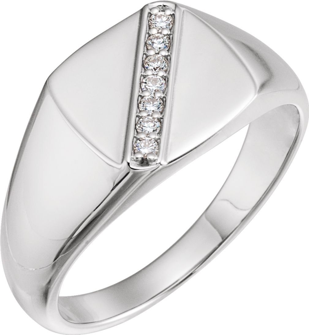 Men's Diamond Signet Ring, Rhodium-Plated 14k White Gold (.1 Ctw, G-H Color, I1 Clarity) Size 11