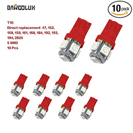 10Pcs Red Color T10 5SMD 5050 194 168 Car 5 LED Indicator Light Bulbs Lamp Bulb