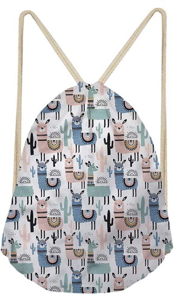 INSTANTARTS Boho Alapca Cactus Printed Shoulder Drawstring Backpack,Lightweight Sport Gym Sack