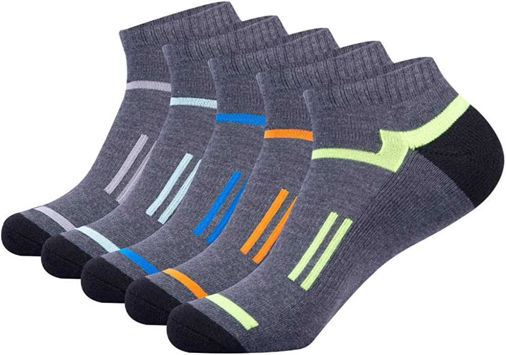 Mens Athletic Ankle Sports Running Low Cut Socks for Men 5 Pack