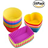 Silicone Baking Cups Muffin Cupcakes Liners Molds Sets in Storage Container-28 Pack